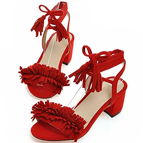 COOLCEPT Mujer Moda Bohemia Al Tobillo Encaje Sandalias with Borlas Rojo 716