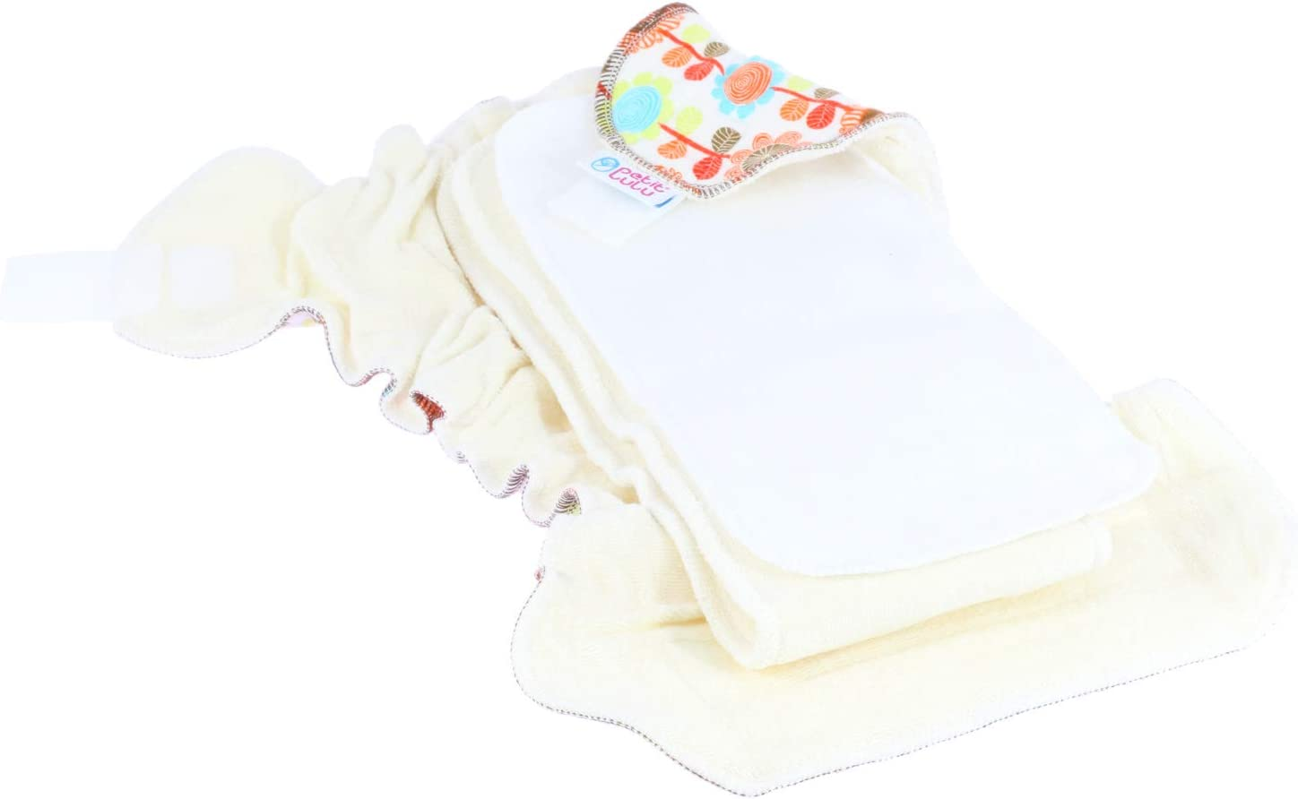 Made in Europe Circles Petit Lulu Bamboo Fitted One Size Diaper Hook /& Loop Reusable /& Washable