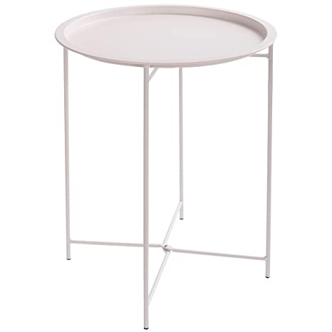 buy online f0492 ca13a HollyHOME Folding Tray Metal Side Table, Sofa Table Small Round End Tables,  Anti-Rust and Waterproof Outdoor or Indoor Snack Table, Accent Coffee ...