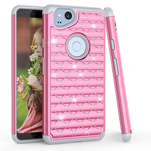 Google Pixel 2 Case, 2017 Google Pixel 2 Glitter Case, TILL(TM) Studded Rhinestone Crystal Bling Diamond Sparkly Luxury Shock Absorbing Hybrid Defender Rugged Cute Case Cover For Girls Women [Pink] ()