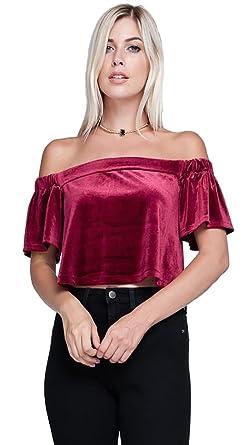 6664ca6b7c288e Harem Girl Velvet Off Shoulder Crop Top Wine Red at Amazon Women s ...