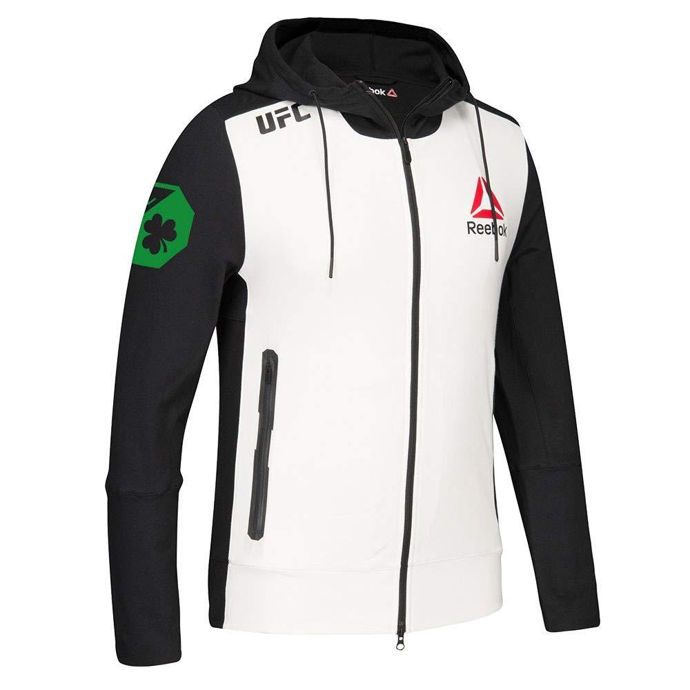65cfbb0cd5 Amazon.com : Reebok Conor McGregor UFC (Black/White/Green) Fight Kit  Walkout Hoodie Men's : Sports & Outdoors