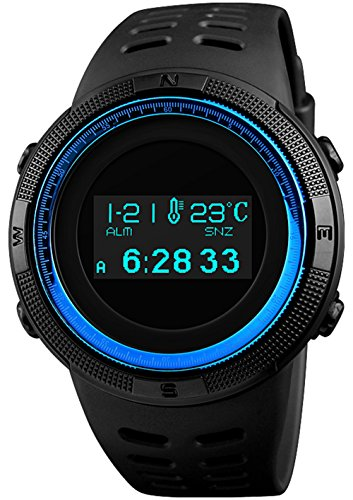 Sports Digital Men Watches Blue Military Electronic Wirst Watch OLED Display Multifunctional