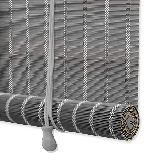 ZY Blinds Bamboo Window Blinds, Grey Light Filtering Window Roller Shades with Valance, 67″ W x 84″ L