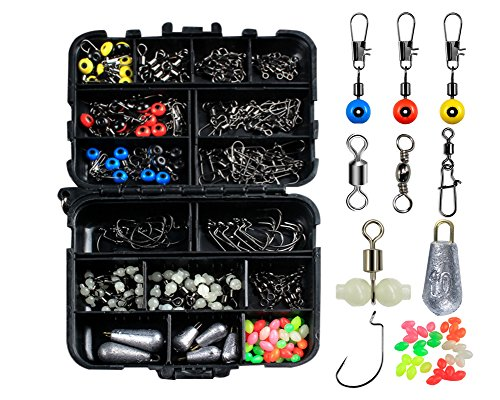 ILURE Fishing Accessories Kit with Tackle Box Set 177pcs Including Swivel Slides Ball Bearing Rolling Snap Barrel Jig Hook