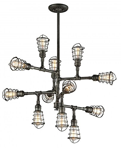 Troy Lighting Conduit 12-Light Chandelier - Old Silver Finish