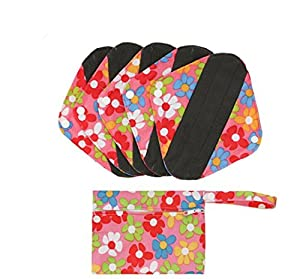 Reusable Cloth Menstrual Pads Reusable Bamboo Charcoal Sanitary Napkins, Sanitary Pads,Women Breathable Sanitary Napkins Set of 5 Pieces