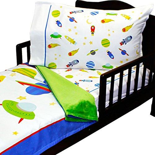 3pc RoomCraft Blast Off Toddler Bedding Set Outer Space Rocket Ships Blanket Sheet and Pillowcase Set - Baby Rocket Ship
