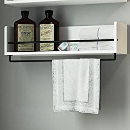 White Rustic Bathroom Wood Wall Shelf with Metal Rail Also Multi Use Can Be Used in Living Room or Bedroom Wall Shelf
