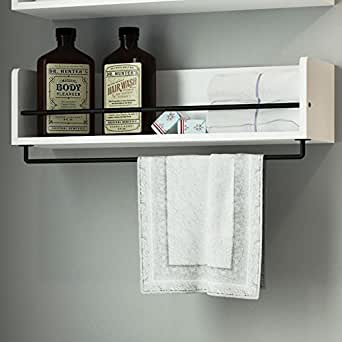 Amazon.com: White Rustic Bathroom Wood Wall Shelf with ...
