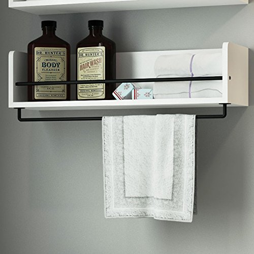 Amazon.com: White Rustic Bathroom Wood Wall Shelf With Metal Rail Also  Multi Use Can Be Used In Living Room Or Bedroom Wall Shelf: Industrial U0026  Scientific Part 71