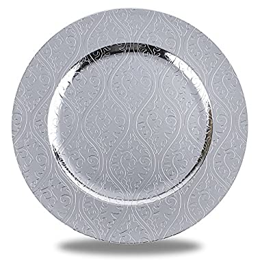 Fantastic:) Round 13 x13  Charger Plates with Eletroplating Finish(set of 6, Moslem Silver)