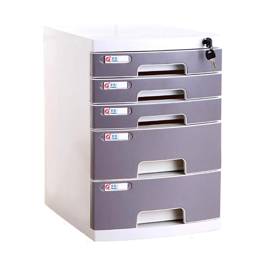 ファイルキャビネットプラスチックデスクトップロッカーファイルボックスラージ2/4/5レイヤーロック付き引き出しタイプグレー (サイズ さいず : C) B07MR71R47  C