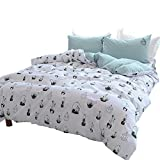 OTOB Kids Soft Casual Cactus Pattern 3 Piece Teen Bedding Duvet Cover Sets Queen Full Size for Girls Woman 100% Washed Cotton White Green Super Soft Reversible Duver Cover with 2 Pillow Shams, Style 4