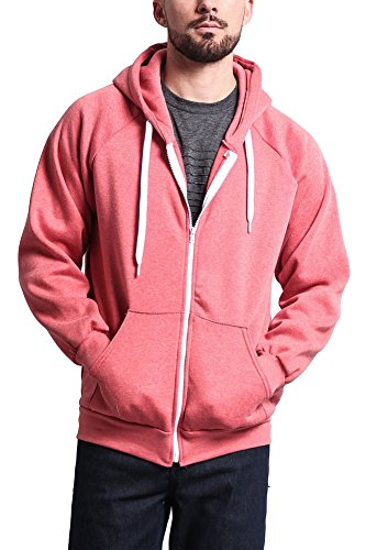 G-Style USA Premium Heavyweight Heather Zip-Up Hoodie HL13102 - CORAL - Large - R9B