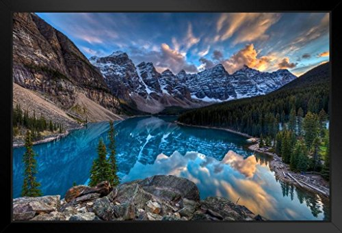 Painting on Moraine Lake Louise Banff National Park Alberta Canada Photo Art Print Framed Poster 20x14 inch