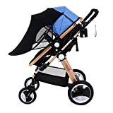 JPOQW UPF 50+ Adjustable Baby Stroller Sun Shade Sun Visor (Black)