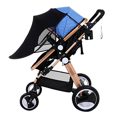 JPOQW UPF 50+ Adjustable Baby Stroller Sun Shade Sun Visor (Black) by JPOQW
