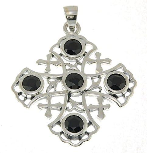 Detalles sobre la cruz de Jerusalén de plata de ley 925 colgante con piedras preciosas negras