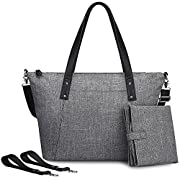 S-ZONE Large Baby Diaper Tote Bag with Changing Pad and Stroller Straps - Designer Fashion Ladies Handbag (Grey)