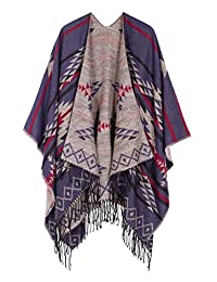 Urban CoCo Women's Printed Tassel Open front Poncho Cape Cardigan Wrap Shawl (Navy blue-series 3)