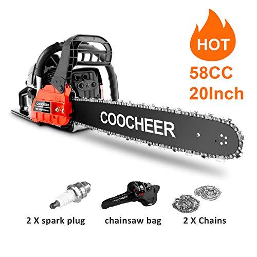 Teaswa COOCHEER 20 Inch Gas Chainsaw 58CC 2-Stroke Gas Powered Chain Saw for Cutting Wood