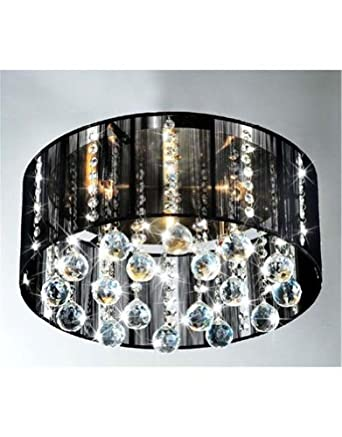 Modern 5 light black drum shade flush mount crystal for Contemporary chandeliers amazon