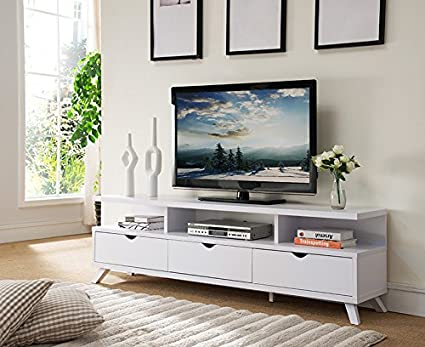 Amazoncom Smart home 151280WH 75 inch TV Stand Media Edition 3