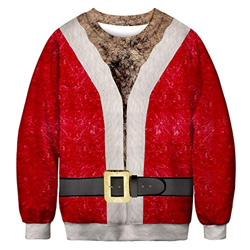 Santa Claus Cosplay Loves' Casual Autumn Winter Christmas 3D Printing Long Sleeve Top Sweatshirt ANJUNIE(1-Red,L)