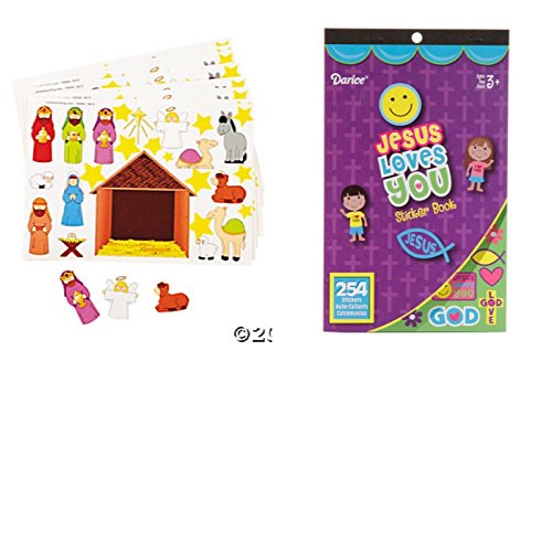 12 Make a NATIVITY Sticker Sheets & JESUS Loves YOU 254 Sticker BOOK - Religious Education - CHRISTMAS - Classroom Activity -