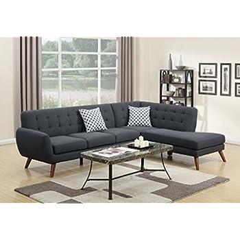 Modern Retro Sectional Sofa (Ash Black)