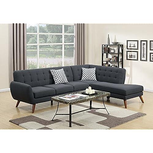 Madison Modern Retro Sectional Sofa (Ash Black)