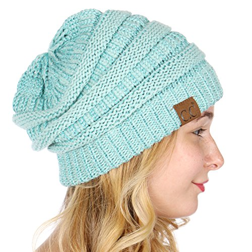 Oversized Knit (SERENITA C.C Unisex Soft Stretch Thick Slouchy Knit Oversized Beanie Cap Hat Mint Metallic)