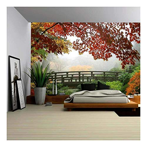 wall26 - Misty Fall Morning in Portland'S Japanese Gardens - Removable Wall Mural | Self-Adhesive Large Wallpaper - 100x144 inches - Designs Mural