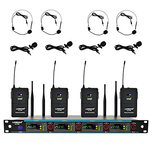Headset Transmitter (LOMEHO LO-V04 4 Bodypack Transmitter Headset and Lavalier Wireless Microphone (4 Bodypack, Frequency 1))