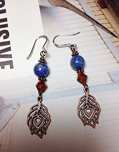Bohemian Lapis Feather Dangle Earrings ()