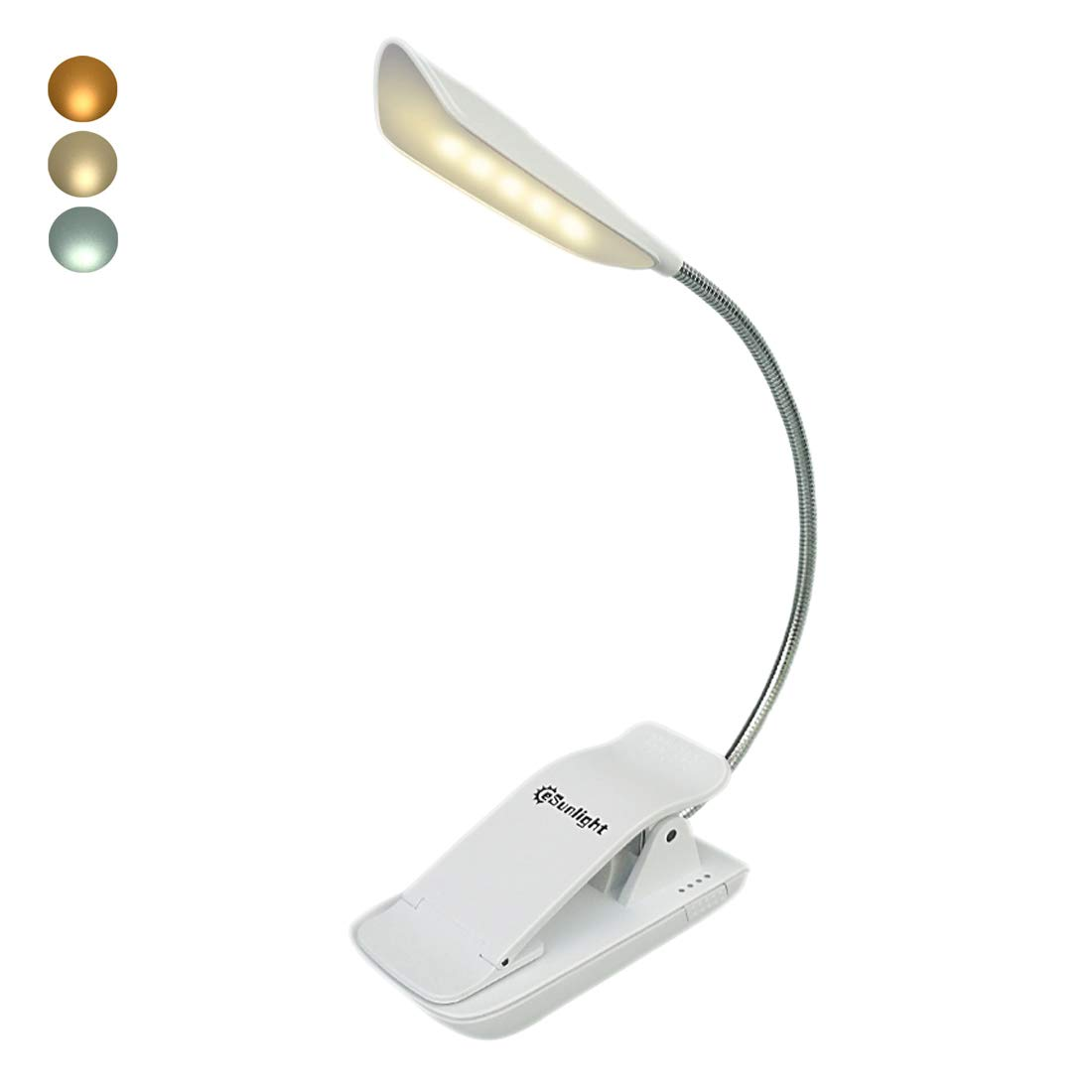 CeSunlight Rechargeable Book Light, Clip on LED Night Reading Lamp, Flexible and Portable Booklight for Kindle, E-Reader in Bed (White) CE1712