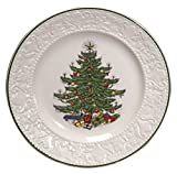 Cuthberston Original Christmas Tree Dickens Embossed, Dinner Plate Round, 11.25'', Set of 4