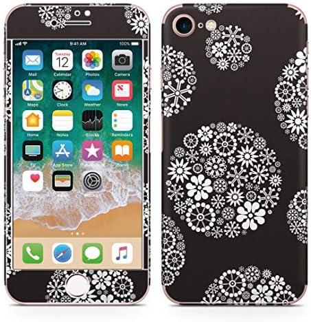 igsticker iPhone SE 2020 iPhone8 iPhone7 専用 スキンシール 全面スキンシール フル 背面 側面 正面 液晶 ステッカー 保護シール 010344 フラワー 花 白 黒