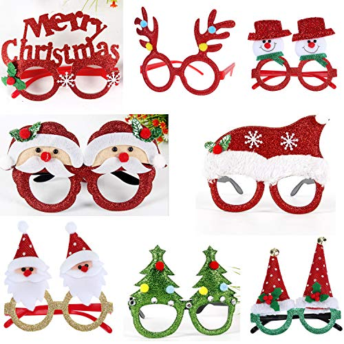 BLUBOON Party Eyeglasses 8 Pack Fancy Glasses Glittered Frames with Reindeer Santa & Snowman Designs for Adults Kids Easter Birthday Christmas Holiday Costume Party Photo Booth (8 Pack)