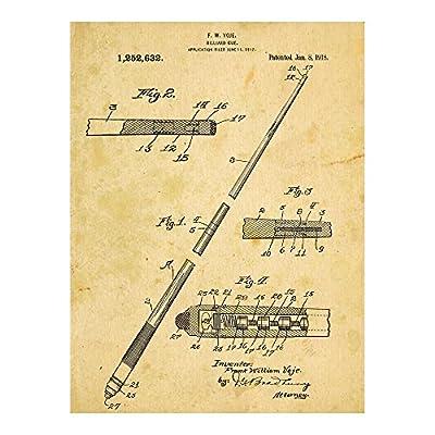 Pool Cue Patent Drawing Metal Sign, Billiards,Vintage, Sport, DenDecor, Office