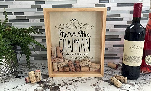 Qualtry Personalized Wine Cork Shadow Box Display - Wall Mounted Monogram Wine Cork Holder for Wedding (11.25