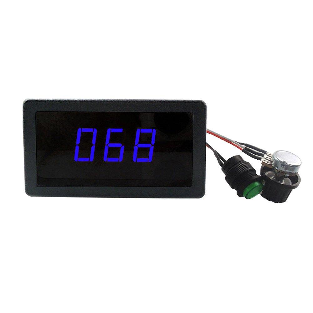 uniquegoods 6V 12V 24V Digital Display LED DC Motor Speed Controller PWM Stepless Speed Control Switch HHO Driver Black CCM5D Green