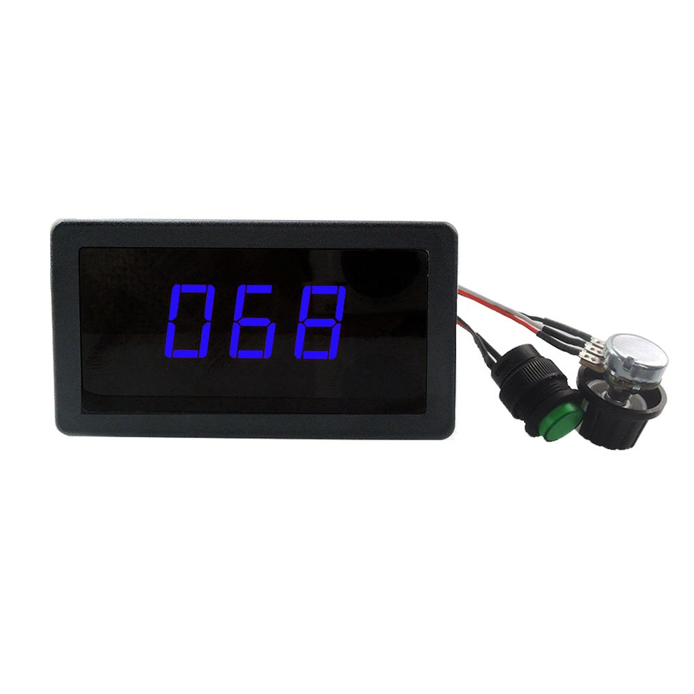 uniquegoods 6V 12V 24V 6-30V 10A Digital Display LED DC Motor Speed Controller PWM Adjustable Speed Control Versible Switch HHO Driver Stepless Blue Light