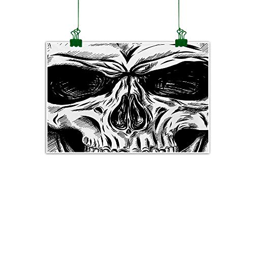 (Unpremoon Halloween,Room Decor Gothic Dead Skull Face Close Up Sketch Evil Anatomy Skeleton Artsy Illustration Canvas Painting Decor Gifts Black White W 40