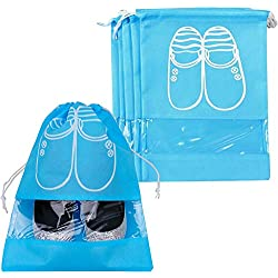 Pack of 5 Dust-proof Breathable Travel Shoe Organizer Bags for Boots, High Heel - Drawstring, Transparent Window, Space Saving Storage Bags, Large Size, Sky Blue