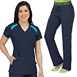 Med Couture Activate Women's Color Block Scrub Top & Flow Cargo Scrub Pant Set