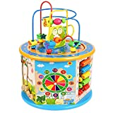 BATTOP Large Multifunction Wooden Activity Cube Bead Maze Educational Toys for 1 Year Old Boys Girls Kids Activity Center
