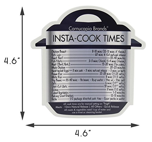Instant Pot Cheat Sheet Magnets (3-Pack); Cooking Times for 16 Common Prep Functions by Cornucopia Brands (Image #2)