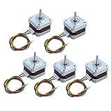 5 PCS Nema 17 Stepper Motor, Nema 17 Stepper Motor Drive 1.8° Step Angle for 3D Printer/CNC